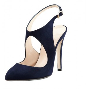 Navy Slingback Heels Suede Cut out Closed Toe Sandals