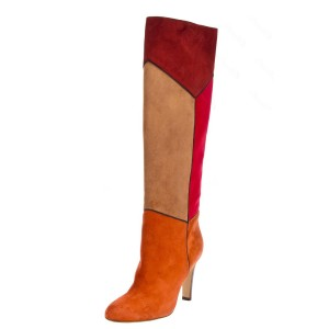 Multicolor Suede Boots Chunky Heel Winter Knee High Boots