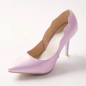 Women's Purple Stiletto Heels Curves Romantic Pointed Toe Shoes