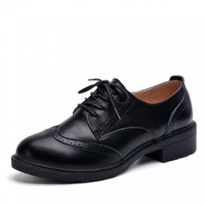 Black Wingtip Shoes Vintage Lace up Women's Oxfords
