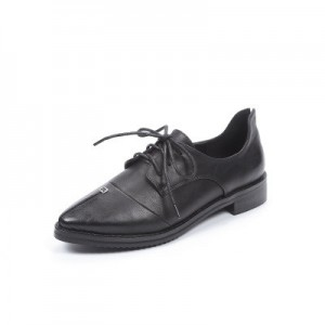 Leila Black Patent Leather Pointed Toe School Shoes Vintage Lace-up Flats
