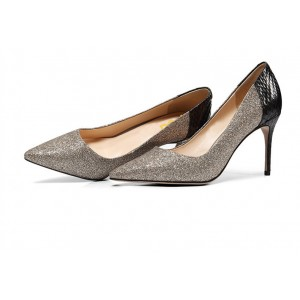 Grey Glitter and Black Python Office Heels Pointy Toe Pumps