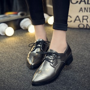 Grey Women's Oxfords Lace up Pointy Toe Patent Leather Vintage Shoes