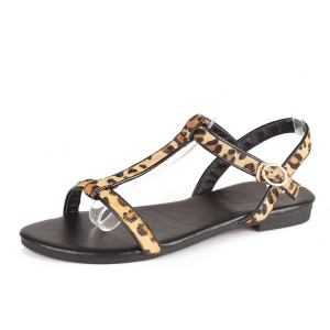 Leopard Print Flats T-strap Sandals for Girls