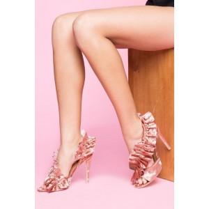Pink Evening Shoes Suede Lace Stiletto Heels Sandals