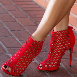 Red Peep Toe Heels Hollow out Heart Shaped Stiletto Heel Sandals