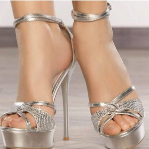 Silver Heels Platform Sandals Ankle Strap Sandals High Heels Shoes