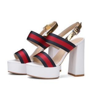 Red and Navy Chunky Heels Platform Sandals Open Toe High Heels Shoes