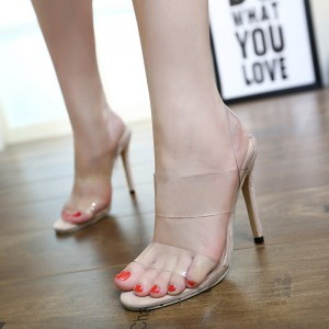 Women's Clear Heels Open Toe Stilettos Heels Slingback Sandals