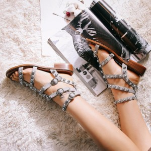 Grey T-Strap Flats Studded Sandals