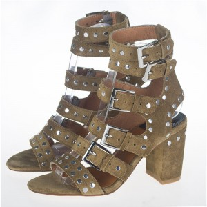 Olive Green Studs Shoes Block Heel Sandals with Buckles