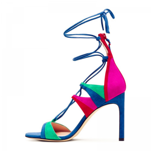 Multi-color Strappy Sandals Suede Lace up Stiletto Heels