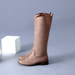 Light Brown Vintage Boots Hollow out Retro Knee-high Boots for Cowgirl