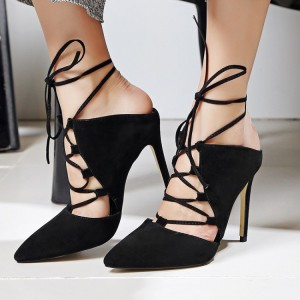 Black Strappy Heels Lace up Pointy Toe Suede Pumps Stiletto Heels