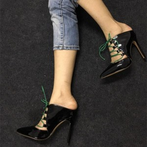 Black Lace up Heels Pointy Toe Patent Leather Pumps Stiletto Heels