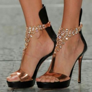 Rose Gold Shoes T Strap Platform Jeweled Evening Sandals
