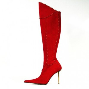 Red Stiletto Boots Pointy Toe Fashion Knee-high Boots