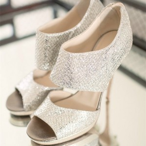 Silver Bridal Heels Sparkly Sandals Cutout Stiletto Heels for Wedding