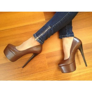 Brown Platform Heels Vintage Pumps High Heel Shoes