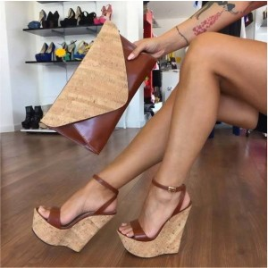 Tan Wedges Sandals Ankle Strap Slingback Open Toe Platform Sandals