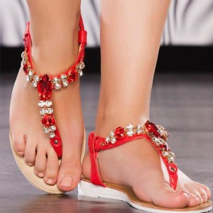 Red Jeweled Sandals Comfortable Beach Flip-flops