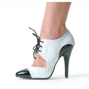 Black and White Oxford Heels Cut out Lace up Vintage Shoes