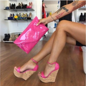 Hot Pink Cork Wedges Open Toe Patent Leather Ankle Strap Sandals