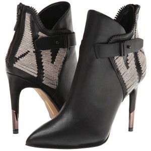 Black Stiletto Boots Pointy Toe Buckle Ankle Booties for Work