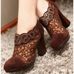 Maroon Lace Chunky Heel Boots Ankle Booties with Rhinestone