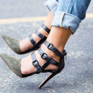 Dark Green Suede Vegan Shoes Pointy Toe Buckles Stiletto Heel Pumps