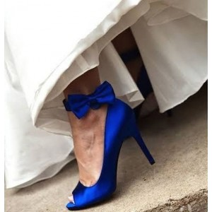 Royal Blue Bridal Heels Peep Toe Ankle Bow Satin Pumps for Wedding