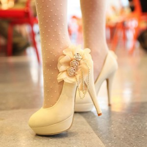 Women's White Platform Almond Toe Floral Chains Stiletto Heel Wedding Shoes Pumps