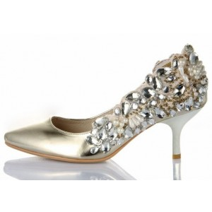 Champagne Metallic Low Heel Wedding Shoes Rhinestone Pointy Toe Pumps