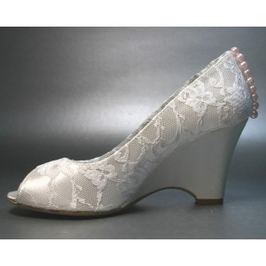 Lace Wedge Ivory Wedding Shoes Peep Toe Pearls Bridal Shoes