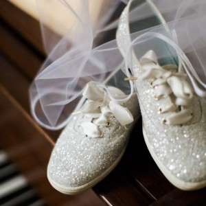 Silver Flat Wedding Shoes Glitter Lace up Sneakers US Size 3-15