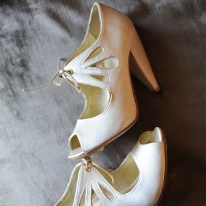 Women's White Peep Toe Hollow Out Lace Up Cone Heel Pumps Bridal Heels