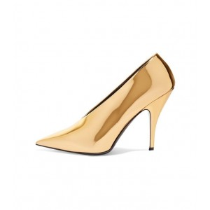Gold Metallic Heels Pointy Toe Vintage Pumps for Party