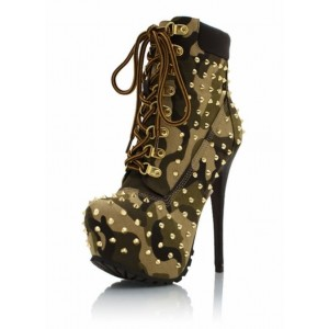 Camouflage Lace up Boots Platform Studded Stiletto Heel Ankle Boots