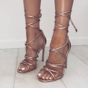 Metallic Rose Gold Sandals Open Toe Stiletto Heel Strappy Sandals