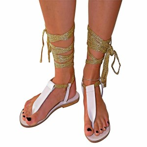 Women's White and Golden Open Toe Comfortable Strappy Sandals