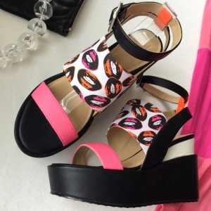 Women's Black and Pink Ankle Strap Open Toe Wedge Heels Sandals