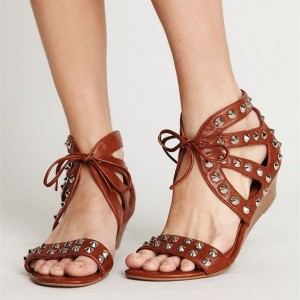 Tan Sandals Open Toe Lace up Rivets Wedges Low Heel Sandals