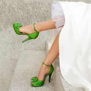 Green Wedding Sandals Peep Toe Ankle Strap Satin Bow Heels