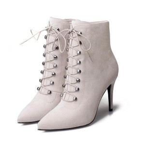 Women's Beige Heels Lace Up Boots Elegant Pointed Toe Ankle Boots