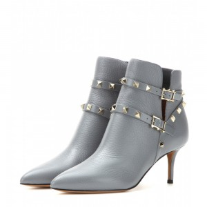 Grey Kitten Heel Boots Rock Studs Fashion Ankle Booties