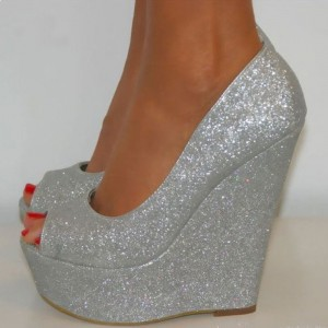 Silver Glitter Shoes Peep Toe Sparkly Wedge Heel Platform Pumps