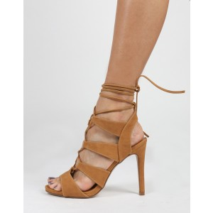 Women's Light Brown Lace Up Sandals Open toe Slingback Heels