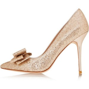 Women's Champagne Sparkly Heels With Bow