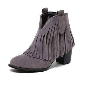 Grey Fringe Boots Round Toe Chunky Heel Suede Ankle Boots
