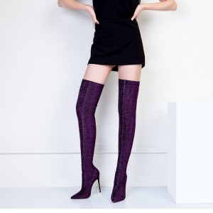 Purple Thigh High Heel Boots Elastic Stiletto Heel Long Boots